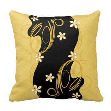 Pillow - Floral Creme Yellow and Black Design