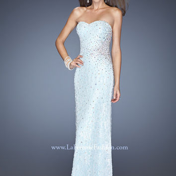 La Femme 20397 - White/Mint Strapless Beaded Lace Prom Dresses Online