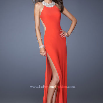 La Femme 19930 - Strawberry Beaded Jersey Halter Prom Dresses Online