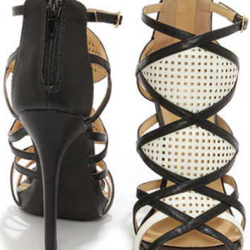 Jesse 25 Black and Ivory Strappy Dress Sandals