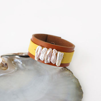 Brown Yellow Leather Cuff Bracelet with Lustrous White Freshwater Stick Pearls, Genuine Leather Accessories