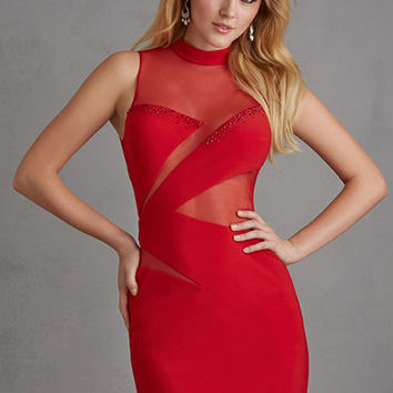 Night Moves 7210 - Red Fitted Jersey Homecoming Dresses Online