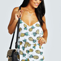 Jazmin Pineapple Print String Back Playsuit
