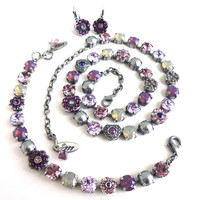 "Swarovski crystal jewelry set in purple and gray, ""Purple Passion"",  OOAK, siggy design,"
