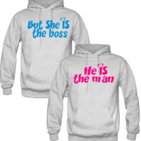 BUT SHE IS THE BOSS HE IS THE MAN DESIGN COUPLE LOVE HOODIES - TeeeShop