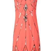 Brenda Embellished Scallop Hem Woven Shift Dress