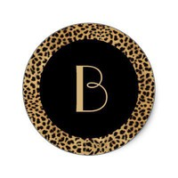 Leopard Print Monogram Sticker from Zazzle.com
