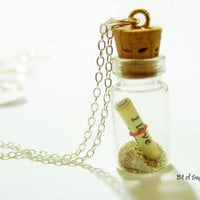 Message in a Bottle Necklace with Shell and Hawaiian by BitOfSugar