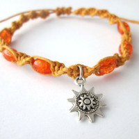 Sun Bracelet Yellow and Orange Glass Bead Hemp Bracelet Sun Charm Hemp Jewelry
