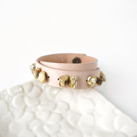 Light Peach Genuine Leather Bracelet with Keishi Freshwater Pearls, Doube Layered Leather Strap Bracelet