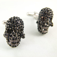 Black Rhinestone Skull Gunmetal Cuff Links by angelyques on Etsy