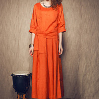 linen long dress gown in orange  maxi formal dress by camelliatune