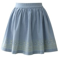 Aztec Stitch Denim Skater Skirt in Light Blue