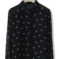 Cranes Print Chiffon Shirt in Black