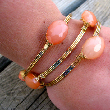 Stacked Wire Bangles - Peach