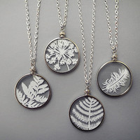 Cut Paper Necklaces - Original Handcut Paper in Glass Pendants with Silver Chain