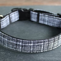Adjustable Dog Collar- Black & White Crosshatch Print
