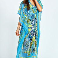 Una V Neck Paisley Neon Kaftan Maxi Dress