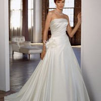 Fantastic Empire Waist Strapless Satin Wedding Bridal Gowns With Ruffles and Flower