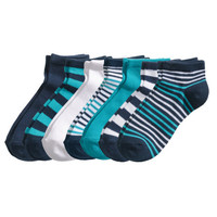 H&M - 7-pack Ankle Socks - Turquoise - Kids