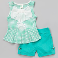 Mint Polka Dot Bow Peplum Top & Shorts - Girls | zulily