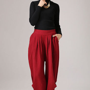 Pleated  maxi red pants linen trousers Casual pants (774)