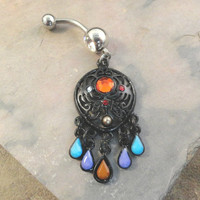 Black Dream Catcher Belly Button Jewelry Ring Purple Turqoise Red