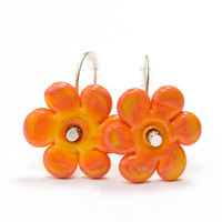 Apricot Orange Flower Bead Earrings Handmade by susansheehan
