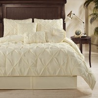 Chezmoi Collection Sydney 7-piece Pintuck Comforter Set, Full Size, White