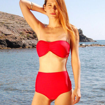 High-Waisted Moderate Bikini Bottom LOS ROQUES in Ruby Red, by Makani Dream Swimwear