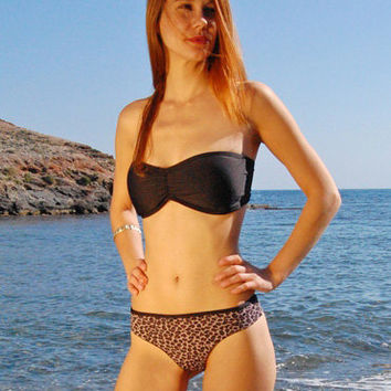 Brazilian Thong Bikini Bottom TARIFA in Leopard and Black REVERSIBLE, by Makani Dream Swimwear