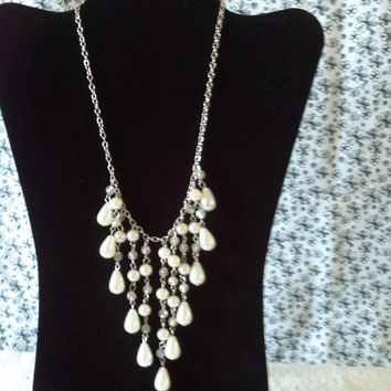 silver white pearl tear drop bead cascade dangle tassel necklace earrings set statement womens fashion jewelry 19 inches waterfall exquisite