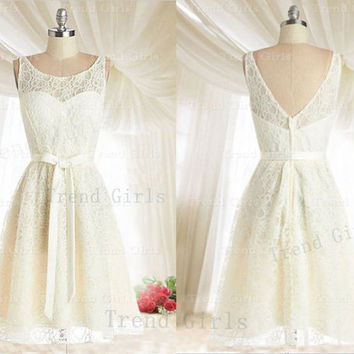 White round neckline Backless Lace Bridesmaid Dresses, Lace Prom Dresses, Wedding Party Dresses, Cheap Lace Bridesmaid Dresses