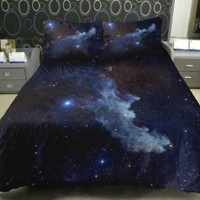 Galaxy Quilt Cover Galaxy Duvet Cover Galaxy Sheets Space Sheets Outer Space Bedding Set Bedspread with 2 Matching Pillow Covers