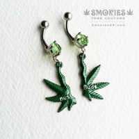 BEST BUDS Marijuana Belly Button Jewelry, belly button ring, 14 gauge surgical steel piercing navel body jewelry bellybutton ring, green