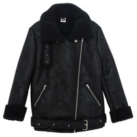 Winter Sheepskin Biker Jacket Black