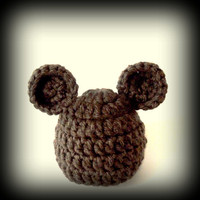Baby hat for boy or girl. Brown baby bear hat by crochetedcuddles