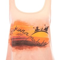 Mighty Fine Disney's The Lion King Hakuna Matata Infinite Sunset Tank-Coral-Large