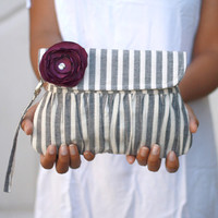 Grey and White Stripe Pleated Pouch Wristlet Clutch Linen by Oyeta