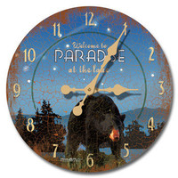 Night At The Lodge Wood Wall Clock