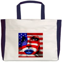 USA Stars and Stripes Woman Portrait Beach Tote