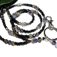 Beaded Lanyard Id Necklace Purples Flowers Angel Breakaway Jewelry