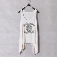 Skeleton Chanel  Women Tank Top  White  Sides Drop by zzzAfternoon