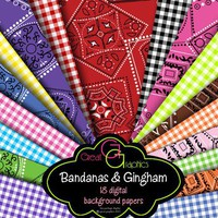 Bandana Gingham digital backgrounds bandana by GreatGraphics