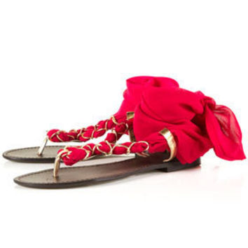 HAWAII Fuschia Chiffon Sandals - Flats  - Shoes  - Topshop