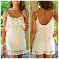 Reach For The Sun Peach Lace Mini Dress