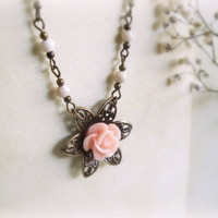 Powder rose Romantic Necklace Soft pink rose flower by GBILOBA