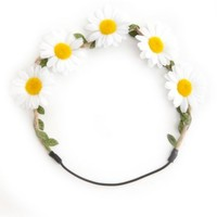 LEAFY RAFFIA & DAISY FLOWER CROWN HEAD WRAP