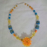 Necklace with lampwork beads swarovski by CindyHarperDesigns