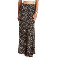 HIGH-WAISTED TRIBAL PRINT MAXI SKIRT